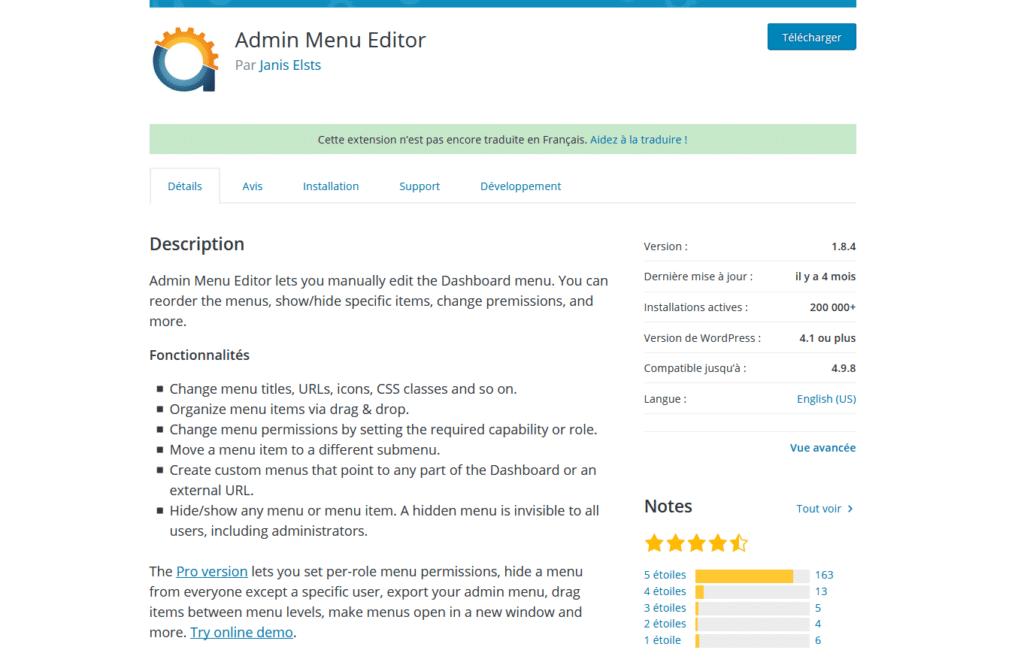 Admin Menu Editor sur wordpress.org