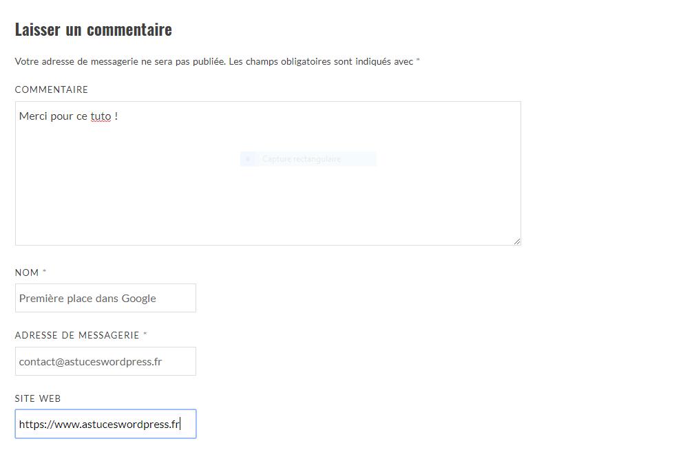 Le formulaire de commentaires de WordPress avec le champ Site Web