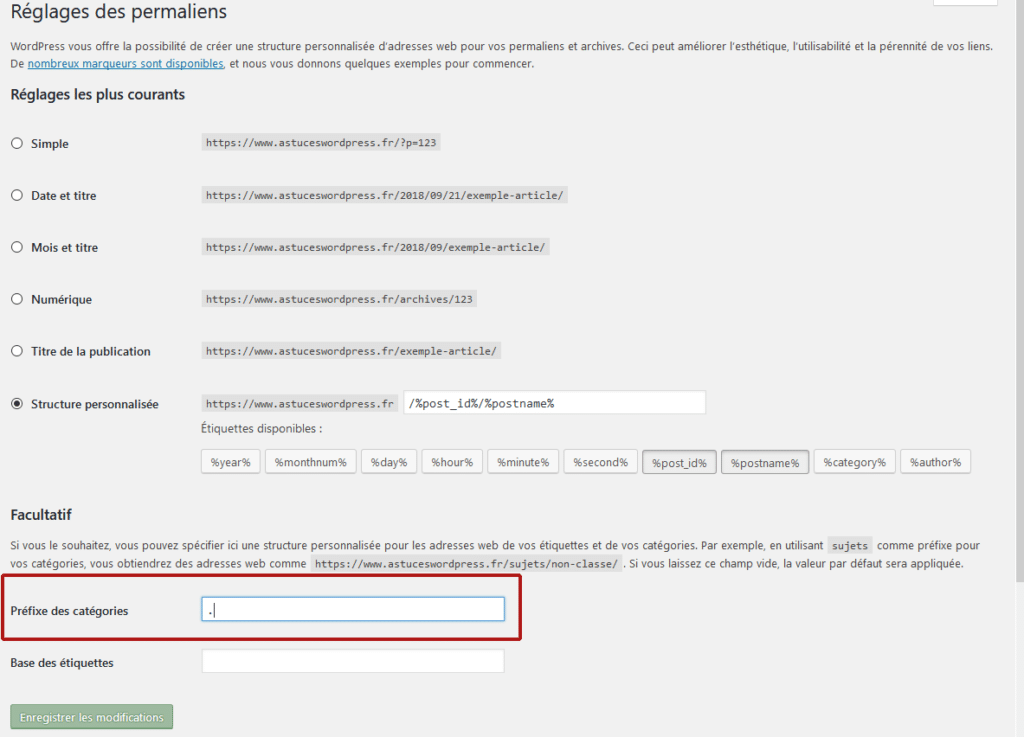 Supprimer category des urls des catégories WordPress depuis le backoffice WordPress