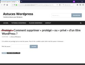 """Retirer la mention """"protégé"""" ou """"privé"""" du titre d'un article Wordpress"""