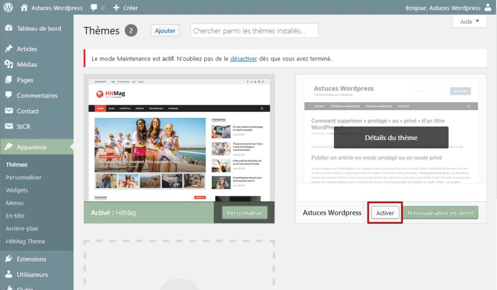Activer votre thème enfant via l'administration de votre site WordPress