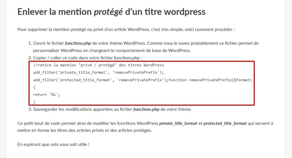 Affichage de base du code dans le thème parent WordPress
