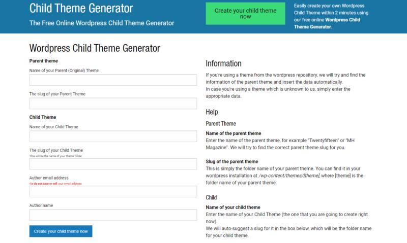 Le générateur de thème enfant pour WordPress, Theme Child Generator