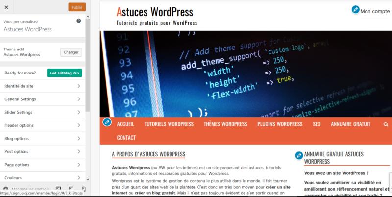 Options de configuration du thème WordPress de votre site web