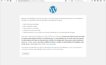 L'écran d'accueil de l'installation de votre site Wordpress