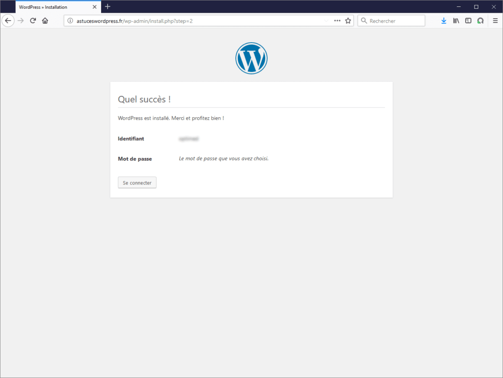 Fin de l'installation de WordPress !