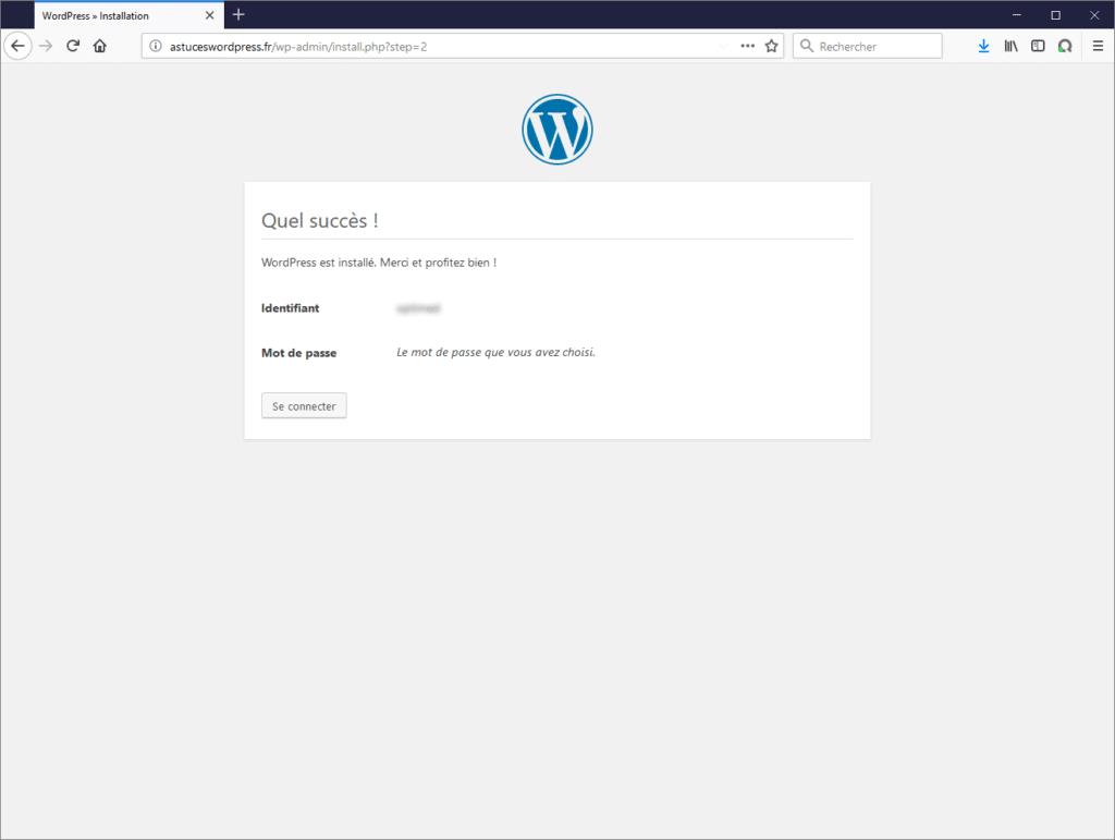 Fin de l'installation de WordPress !