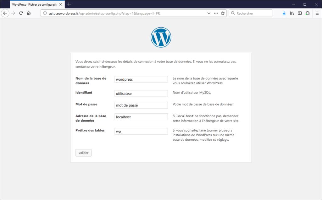 Paramétrer dans WordPress la connexion à la base de données MySQL