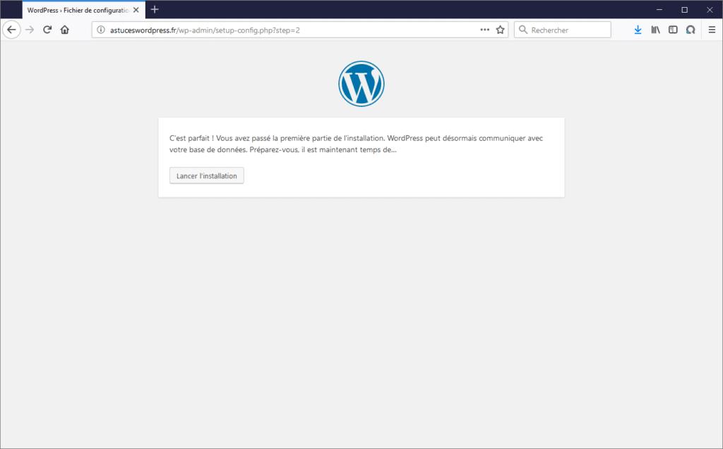 Connexion à la base de données de WordPress réussie