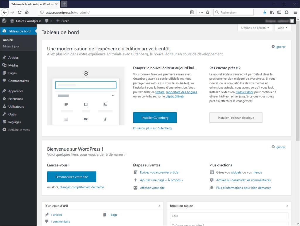 Votre première connexion à WordPress