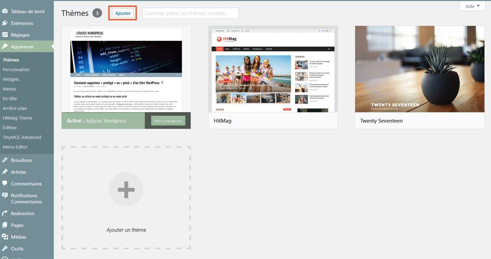 REchercher un thème WordPress depuis l'administration WordPress