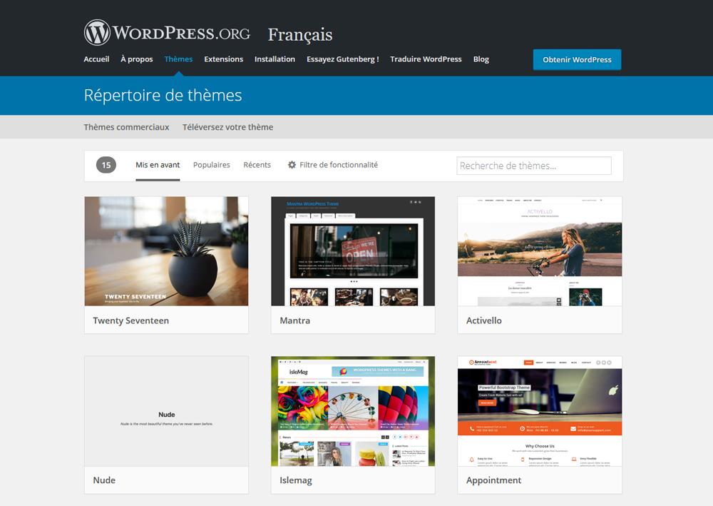 Télécharger un thème sur le site WordPress