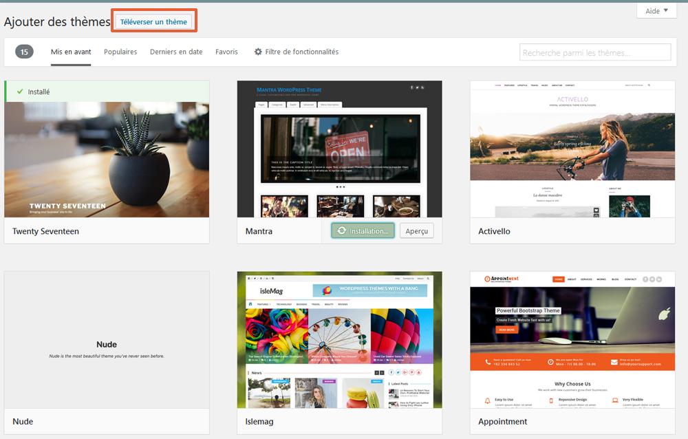 Téléverser un thème WordPress sur votre site