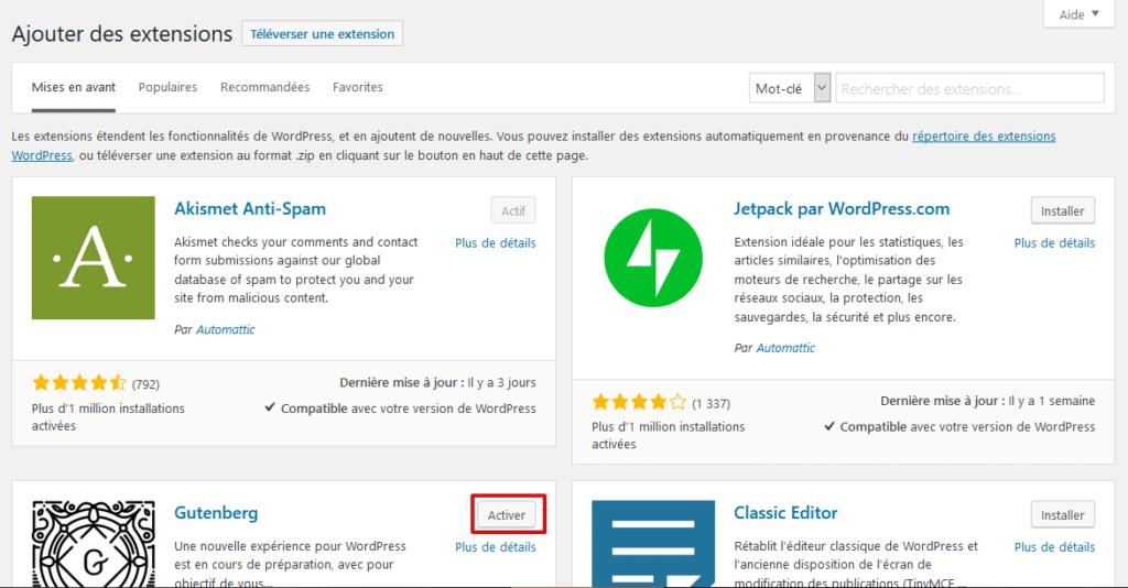 Activation du plugin WordPress après son installation