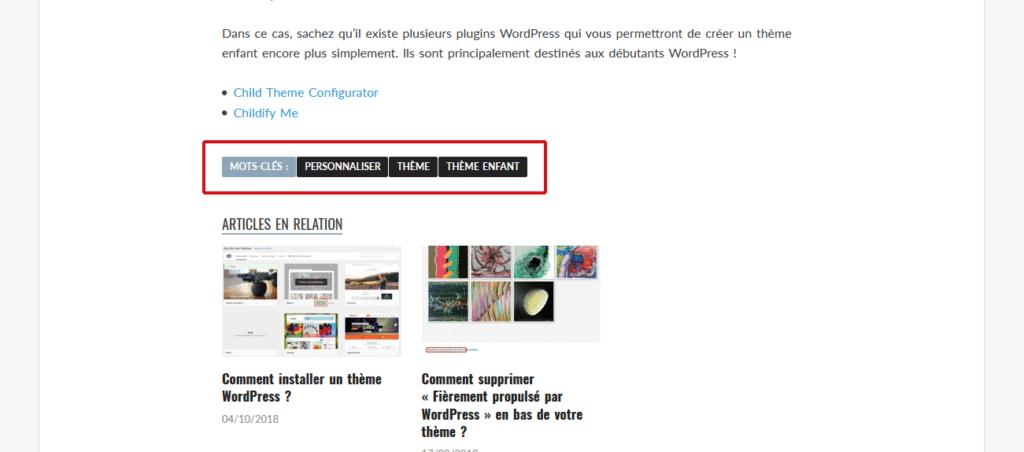 Exemple d'affichage des étiquettes dans un article du site Astuces WordPress