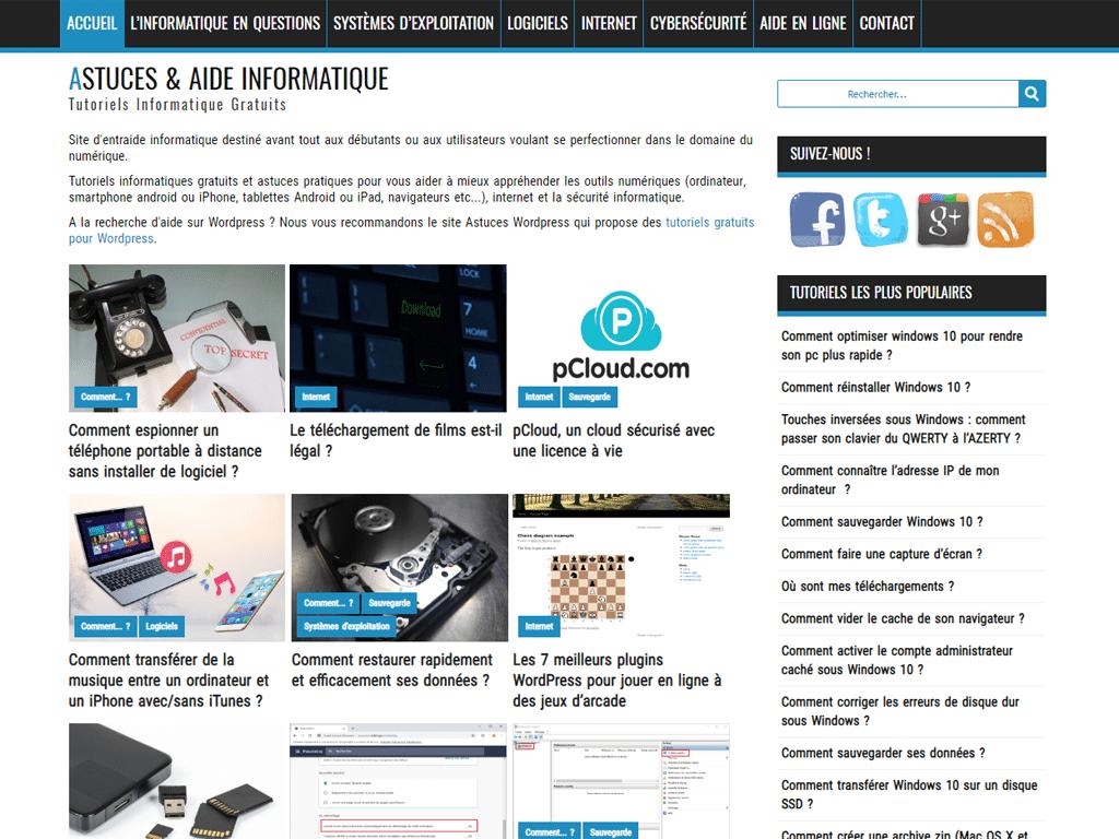 Capture d'écran du site Astuces & Aide Informatique