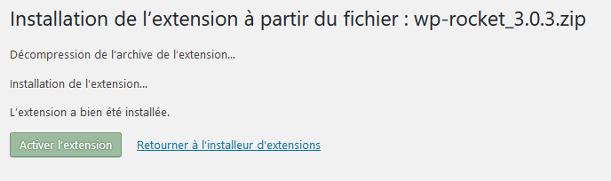 Fin de l'installation du plugin WordPress