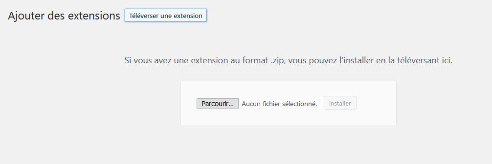 Téléverser le fichier zip de votre plugin WP