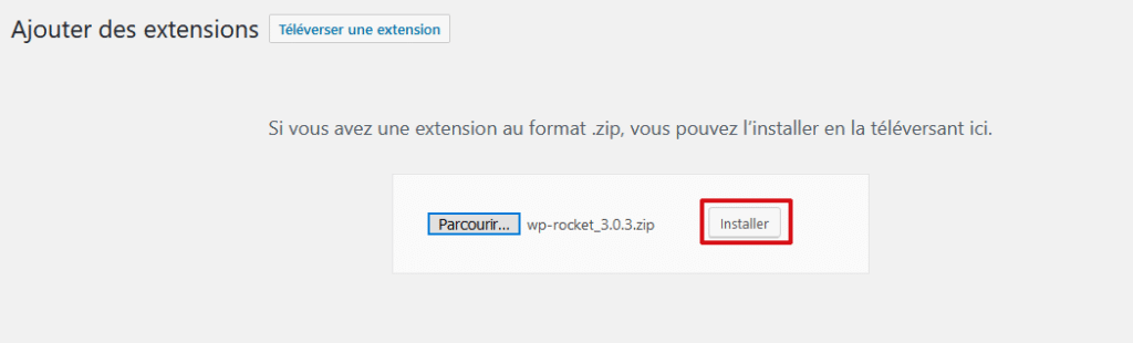 Lancer l'installation de l'extension WP