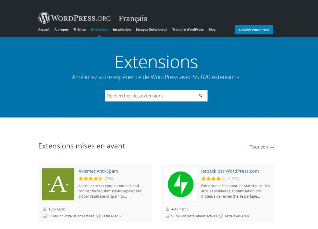 Capture d'écran de la section plugins du site officiel WordPress (wordpress.org)