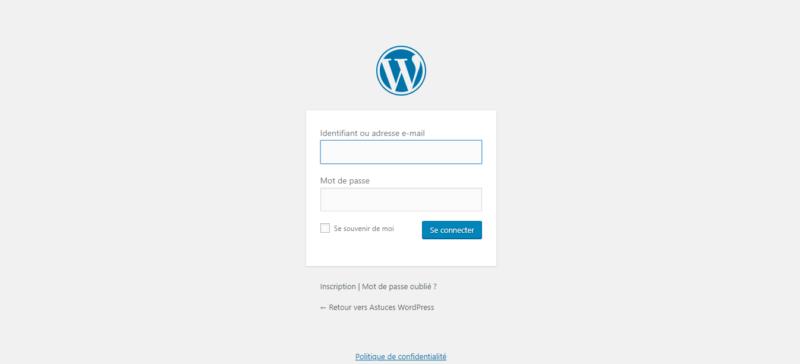 Page de connexion basique à votre site WordPress