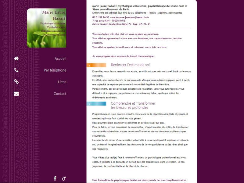 Site web de la psychologue du 5eme arrondissement de Paris, Marie-Laure Hazart