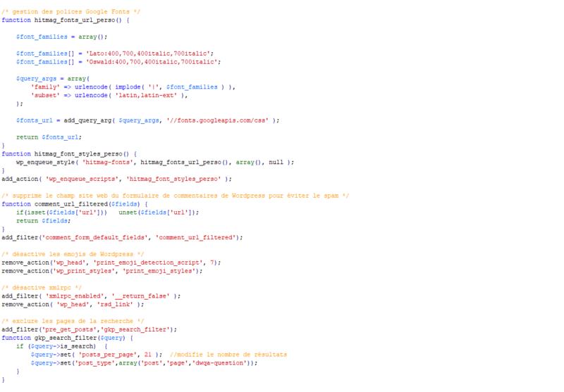 Quelques snippets extraits de mon fichier functions.php
