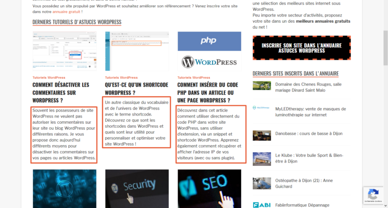 Utilisation des extraits WordPress qui sont affichés sur la page d'accueil