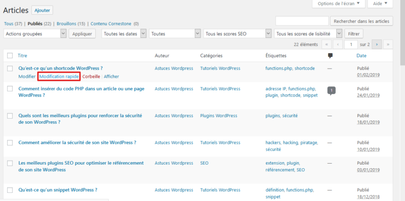 Modification rapide d'un article WordPress
