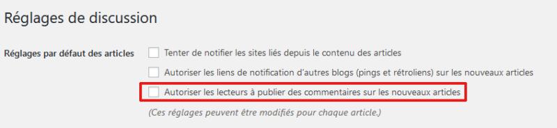 Ne pas autoriser les commentaires sur tous les nouveaux articles de WordPress