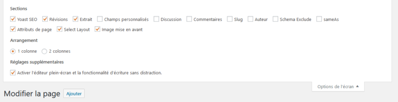 Options de l'écran dans l'administration d'une page WordPress