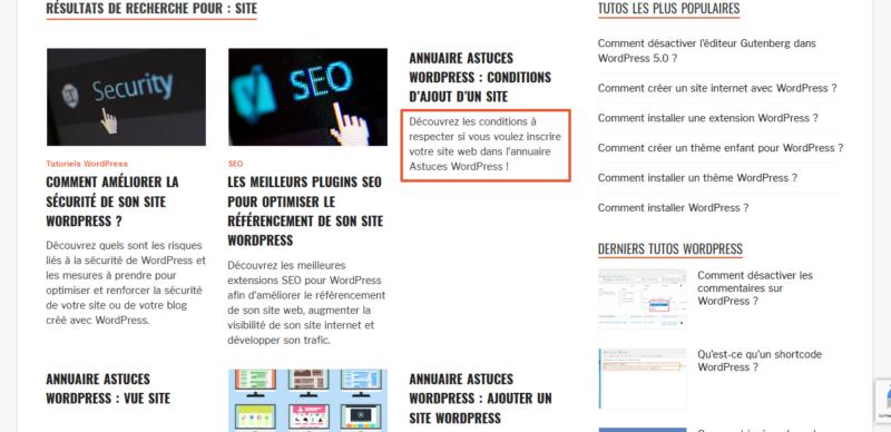 Affichage de l'extrait d'une page dans les résultats de la recherche