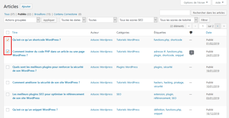 Sélection des articles WordPress